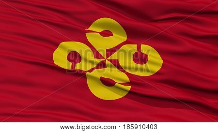 Closeup Shimane Japan Prefecture Flag, Waving in the Wind, High Resolution