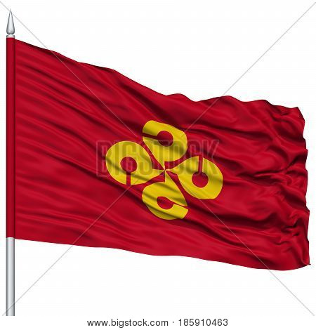 Isolated Shimane Japan Prefecture Flag on Flagpole, Flying in the Wind, Isolated on White Background