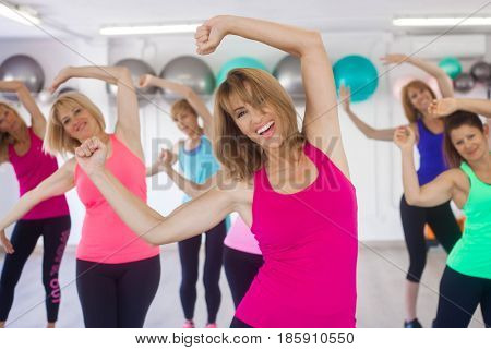 women exercising at gym