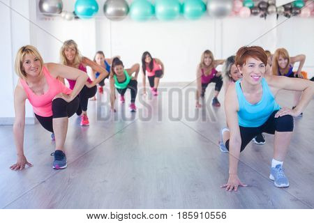 warming up and stretching at exercise class