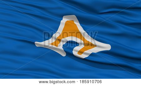 Closeup Shizuoka Japan Prefecture Flag, Waving in the Wind, High Resolution