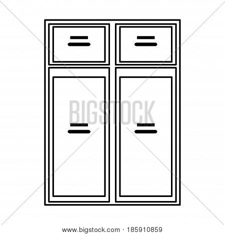 furniture closet door front outline vector illustration