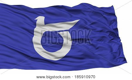 Isolated Tottori Japan Prefecture Flag, Waving on White Background, High Resolution