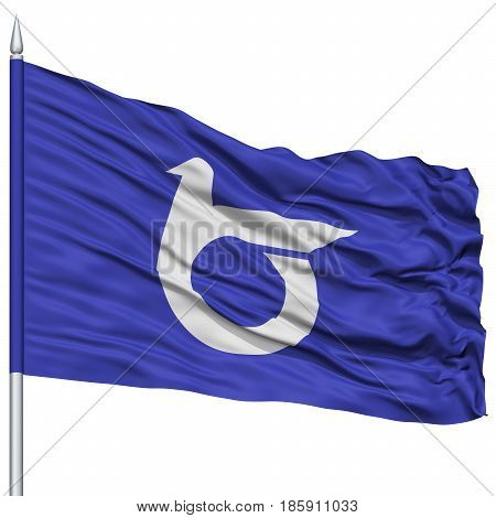 Isolated Tottori Japan Prefecture Flag on Flagpole, Flying in the Wind, Isolated on White Background