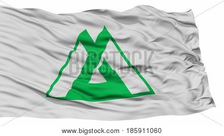 Isolated Toyama Japan Prefecture Flag, Waving on White Background, High Resolution