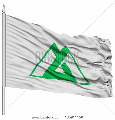 Isolated Toyama Japan Prefecture Flag on Flagpole, Flying in the Wind, Isolated on White Background