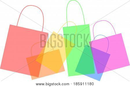 3D illustration of multiple color shopping bags.