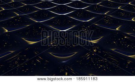 A 3D illustration of a wavy black background image.