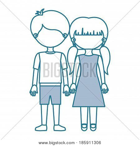 blue contour with color sections faceless couple girl with pigtails hair and boy in shorts and taken hands vector illustration