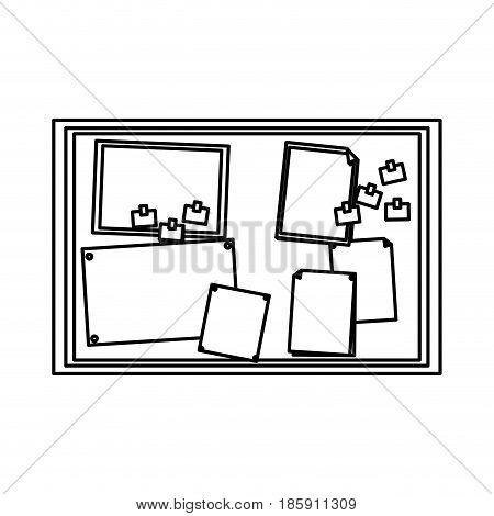 paper notes on cork board office element vector illustration