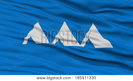 Closeup Yamagata Japan Prefecture Flag, Waving in the Wind, High Resolution