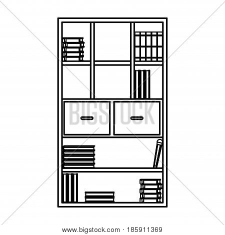 bookcase library books furniture drawers handle outline vector illustration