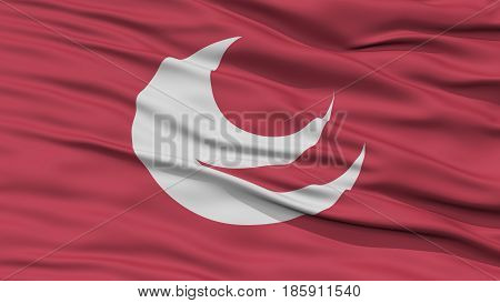 Closeup Hiroshima Japan Prefecture Flag, Waving in the Wind, High Resolution