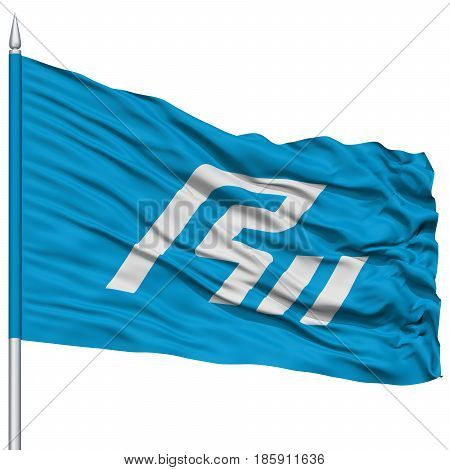 Isolated Ishikawa Japan Prefecture Flag on Flagpole, Flying in the Wind, Isolated on White Background