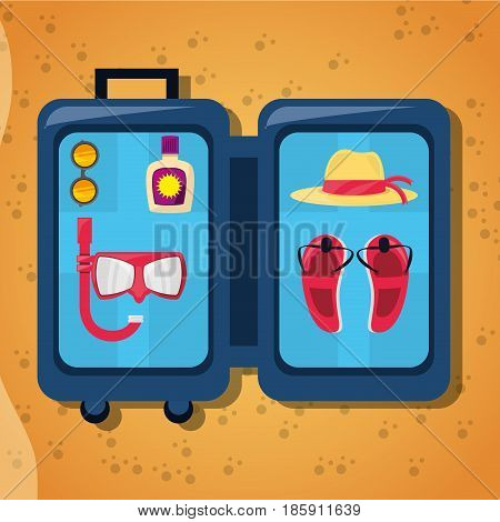 open baggage with sun glasses, mask, suncreen, hat and sandals over sand, vector illustration
