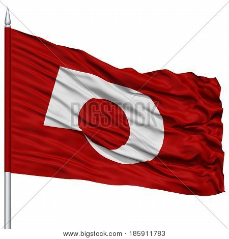 Isolated Kumamoto Japan Prefecture Flag on Flagpole, Flying in the Wind, Isolated on White Background