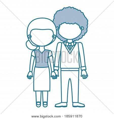 blue contour with color sections faceless couple woman with collected hair and curly man with bowtie and taken hands vector illustration