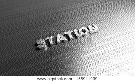 Metal word 'Industry' on steel background. Lettering for logotypes, sites and articles. Label for any business purposes related with transport and auto. 3D Rendering.