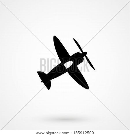 Airplane Icons With Screw. Vector Plane Silhouette.