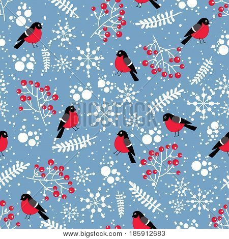 Seamless Background From Winter Elements. Pattern With Bullfinches