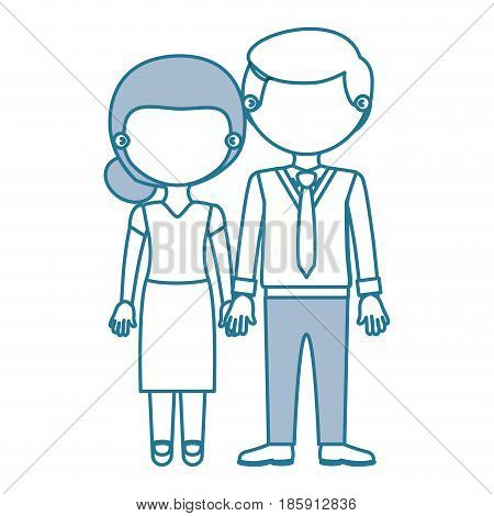 blue contour with color sections faceless couple woman with skirt and blouse with man in formal style and taken hands vector illustration
