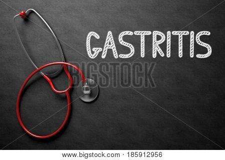 Gastritis Handwritten Medical Concept on Chalkboard. Top View Composition with Black Chalkboard and Red Stethoscope on it. Medical Concept: Black Chalkboard with Gastritis. 3D Rendering.