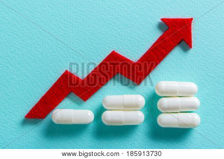 White pills on a green background. Increase the dosage of the medicine. Growing diagram up with a red arrow. Empty place for text copy paste