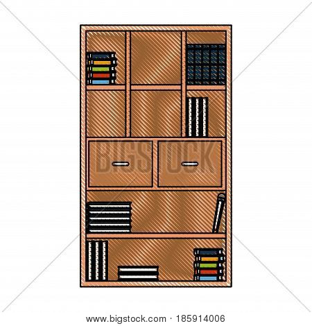 drawing bookcase library books furniture drawers handle vector illustration