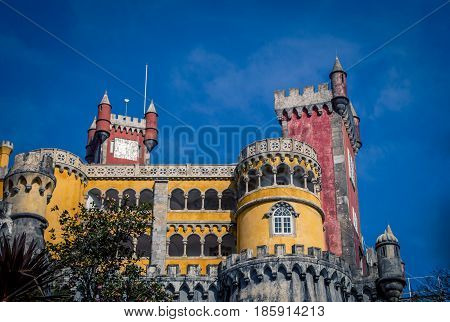 Colorful building and tower  in Sintra Portugal