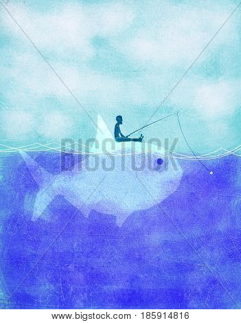 fisherman fishing on fish ecology concept digital illustration