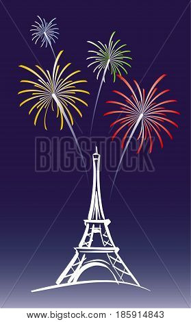 vector illustration for a proposed new year's day in Paris