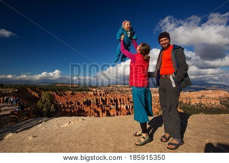 Family with babyboy in Bryce canyon National Park Utah USA