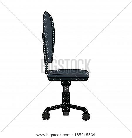 drawing chair office wheel soft profile vector illustration
