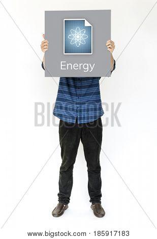 Hands holding billboard network graphic overlay