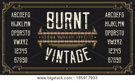 Vintage Retro Font with Sample Text. Handcrafted Decoration Font.
