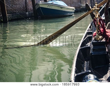 Detail of gondola during gondola ride in Venice.