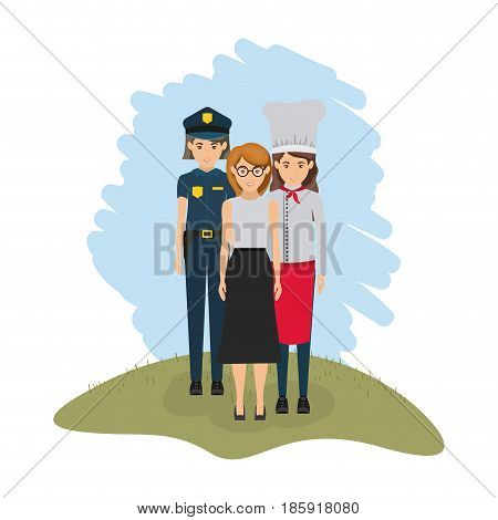 color landscape with policewoman and female cook and housewife vector illustration