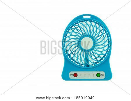 Blue Handheld fan on white background .