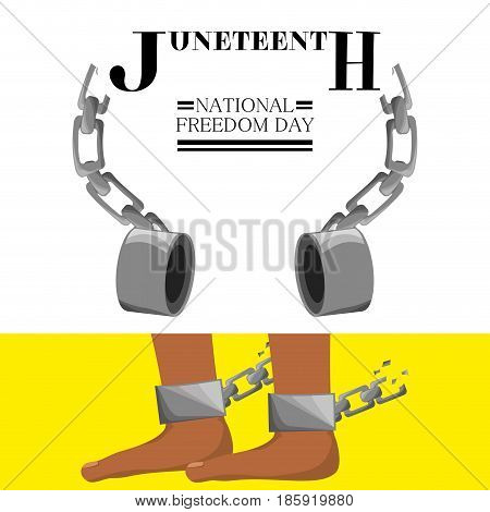 feet with chain broken to celebrate freedom, vector illustration