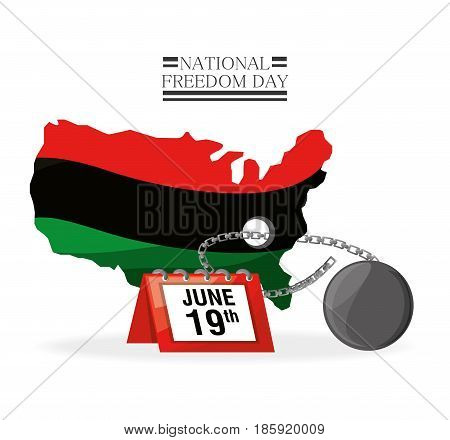 flag, calendar and chain to celebrate freedom, vector illustration