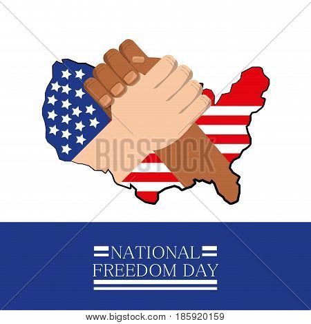 hands together with flag celebrating national freedom day, vector illustration