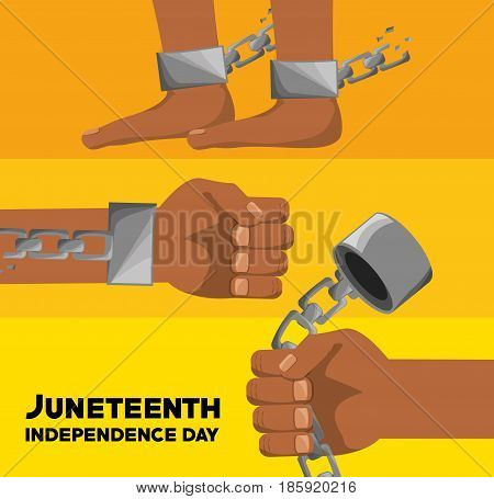 hands and feet with chain to celebrate juneteenth independence, vector illustration
