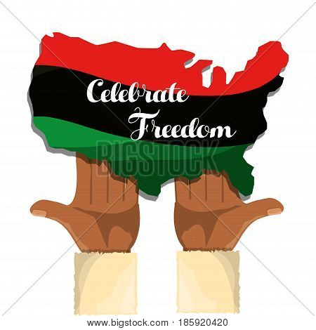 hands and flag with notice of celebrate freedom, vector illustration