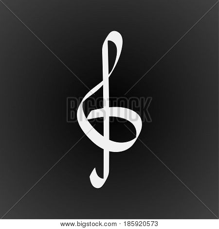 Treble clef logo vector. Eps 10. Treble clef on black background