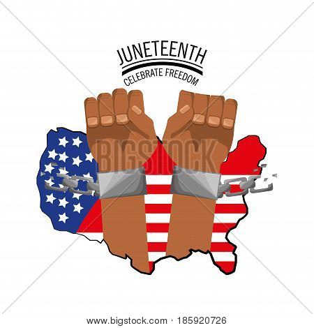 hands with chain and flag to celebrate freedom, vector illustration