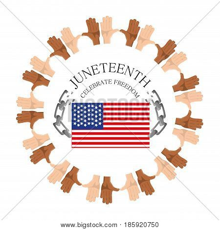 flag and chain with hands around to celebrate freedom, vector illustration