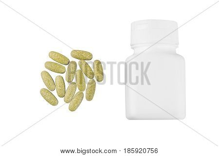 Vitamin complex multivitamin supplement pill and white container isolated on white background top view.