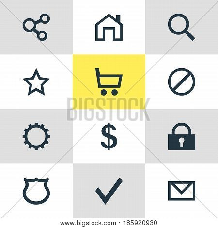 Vector Illustration Of 12 User Icons. Editable Pack Of Wheelbarrow, Conservation, Access Denied And Other Elements.