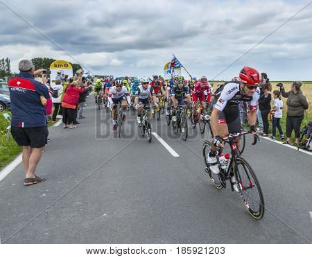 Ardevon France - July 2 2016: The peloton (including Mark Cavendish- the winner of the stage) taking the start of Tour de France at Km 0 close to Mont Saint Michel Monastery in ArdevonFrance on July 22016.