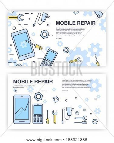 Mobile phone repair. Banners with smartphone and tools. service electronic technic
